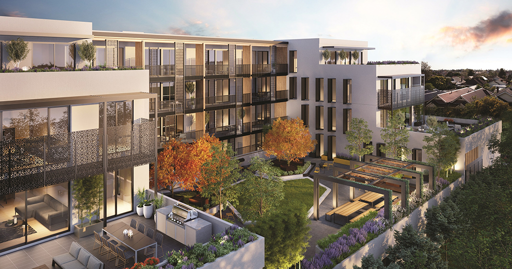 Rendering of an apartment community