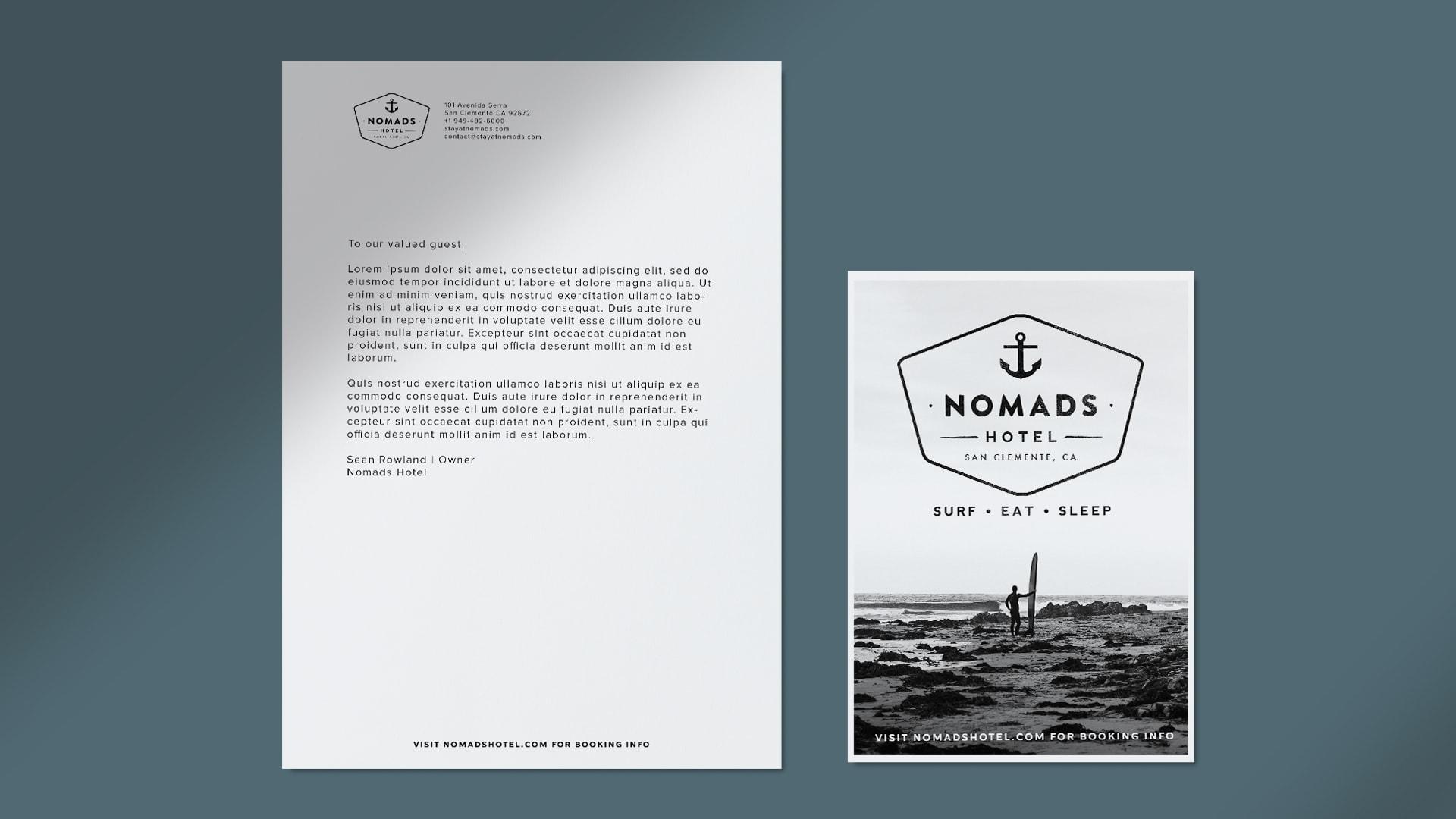Nomads Hotel Stationery - Unsung Studio Branding