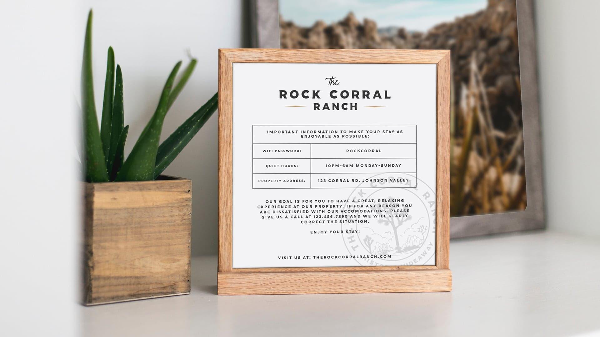 The Rock Corral Ranch Check In - Unsung Studio Branding