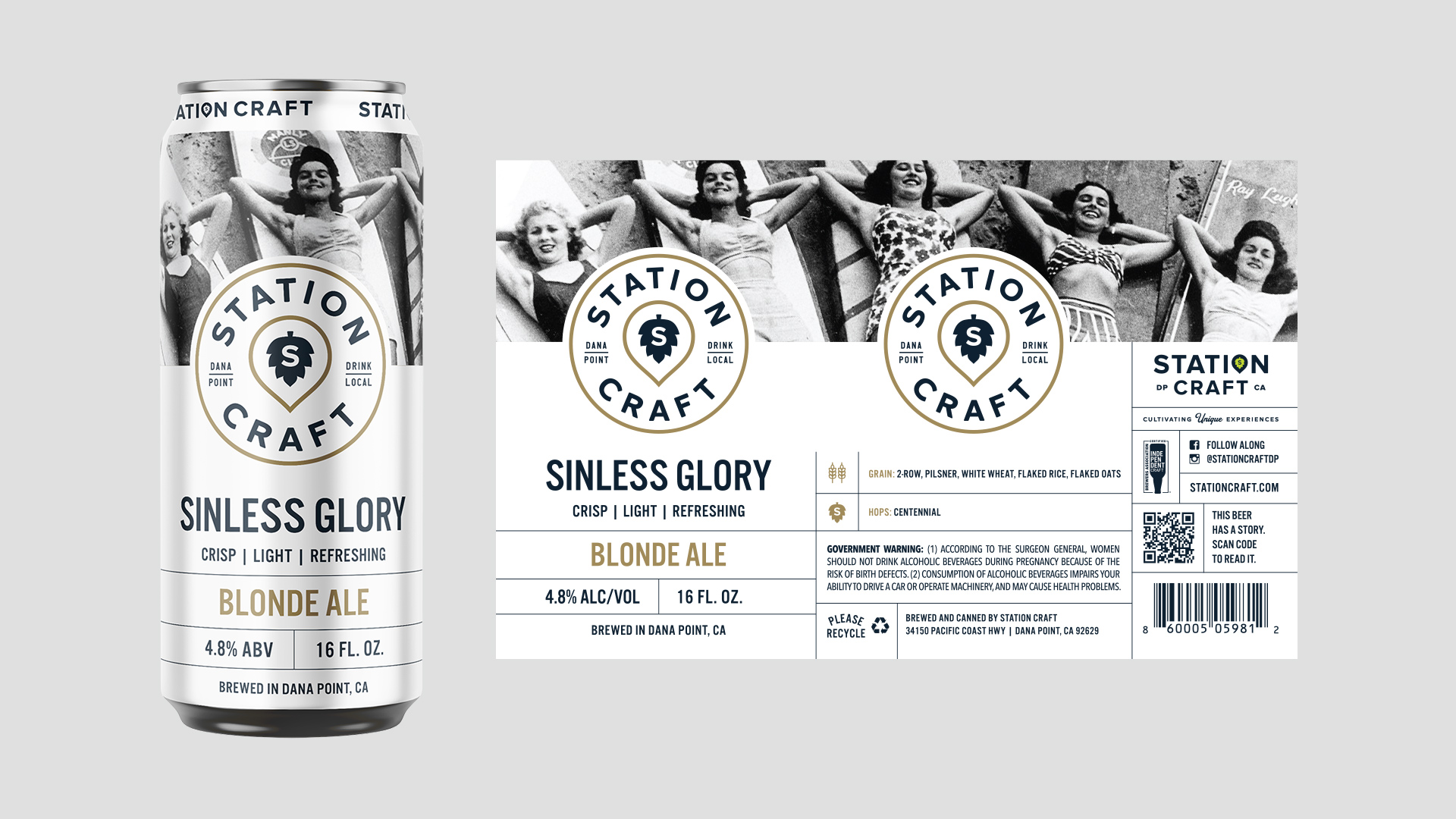 Station Craft Dana Point Sinless Glory Can Design - Unsung Studio Branding