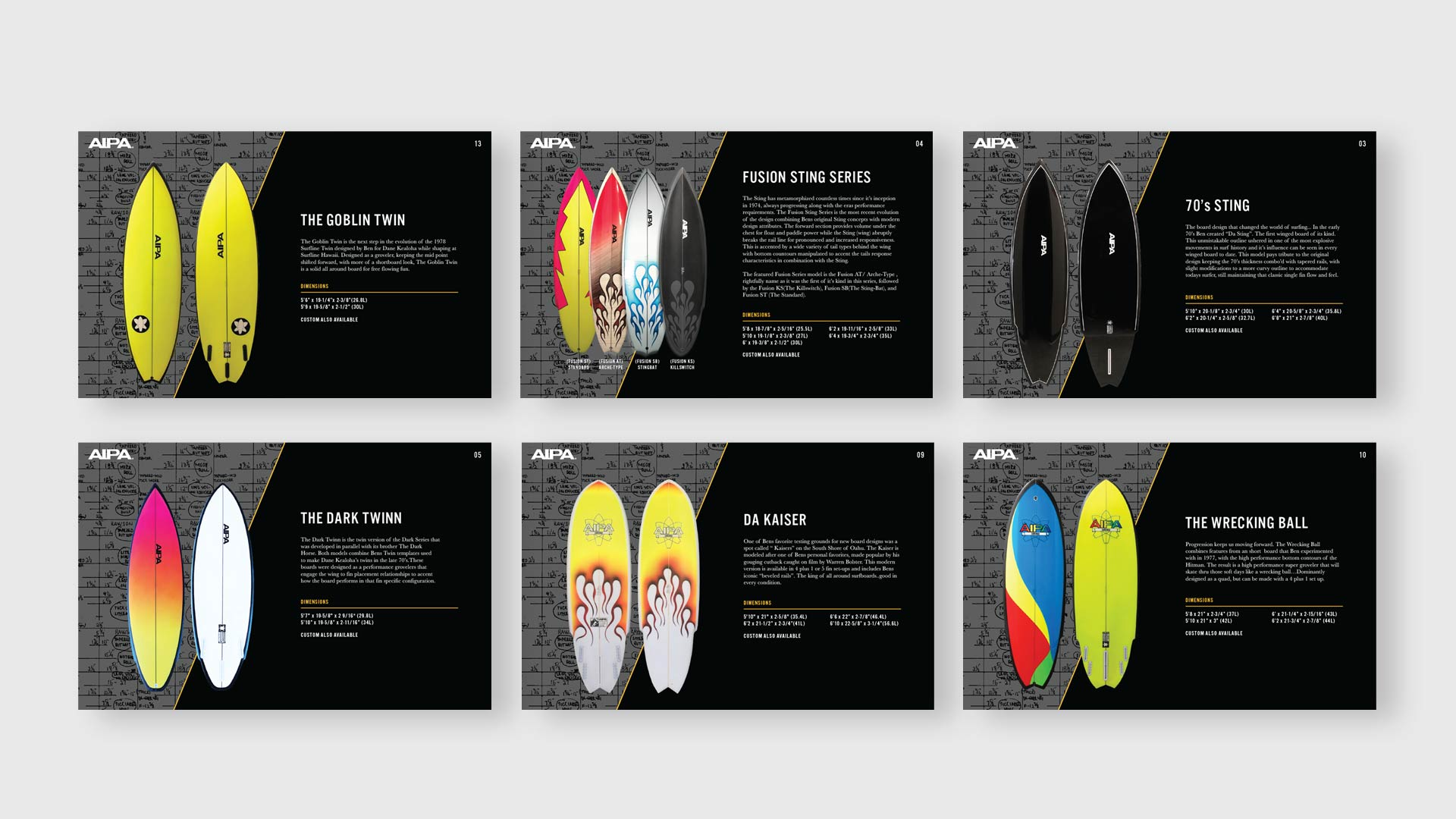 Aipa Surfboard Catalog - Unsung Studio Branding